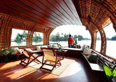 Beautiful house boat in India.