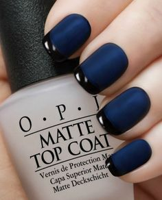 OPI  Matte Navy Reverse Tuxedo Manicure. OPI Russian Navy, Black Onyx, matte top coat Nail Polish with complete easy to follow instructions