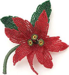 Poinsettia Pin by Arlene Baker. Project available for instant download from the Beading Daily Shop.