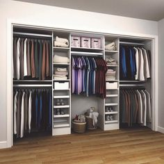 84 in. H x 75 in. to 165 in. W x 15 in. D White Melamine Reach-In Closet Kit : 84 in. H x 75 in. to 165 in. W x 15 in. D White Melamine Reach-In Closet Kit Wardrobe Design Bedroom, Master Bedroom Closet, Bedroom Wardrobe, Open Wardrobe, Walk In Closet Design, Closet Designs, Reach In Closet, Maximize Closet Space, Master Closet Design