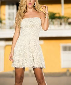 Another great find on #zulily! Beige Shimmer Lace Strapless Dress by AM PM #zulilyfinds