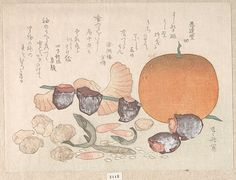 Orange, Dried Persimmons, Herring-Roe and Different Nuts; Food Used for the Celebration of the New Year, Edo period woodblock by Ryūryūkyo Shinsai Japanese Drawings, Japanese Prints, Vintage Wall Art, Vintage Walls, Different Nuts, Edo Period, Historical Maps, Japan Art, Art Object