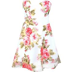 Jon RARE Sweetheart Rose Print Prom Dress in Floral ($28) ❤ liked on Polyvore featuring dresses, vestidos, short dresses, robes, mini prom dresses, floral print prom dresses, short floral dresses and fitted dresses