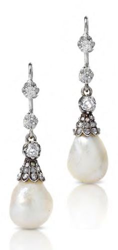 A pair of antique natural pearl and diamnond earrings, 19th century. Modified. 3.5cm long. #antique