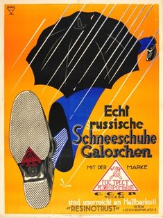 Resinotrust Galoshes USSR Austria, 1920s - original vintage poster by Ernst Ludwig Franke  for Rezinotrust Russian snow shoes listed on AntikBar.co.uk #RainDay