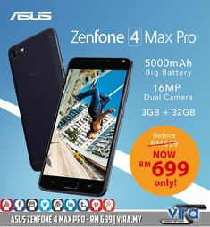 Are you looking for a GOOD phone with MASSIVE battery at an AFFORDABLE price? ZenFone 4 Max Pro is your answer.  It is just RM 699 now (previously RM 899).  - 5000 mAh battery - Dual-rear camera (16 MP) - Front camera (16 MP) with f/2.0 aperture - 32 GB of internal storage & 3 GB of RAM - Snapdragon 430 processor  Btw, ASUS Malaysia website says that the price of this device is RM 1099 🤔  And ASUS Malaysia's official store in Lazada still sells it for RM 899 🤔🤔🤔