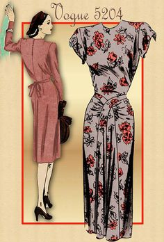 Vintage 1940s Dress Pattern Vogue 5204 by FloradoraPresents, $40.00
