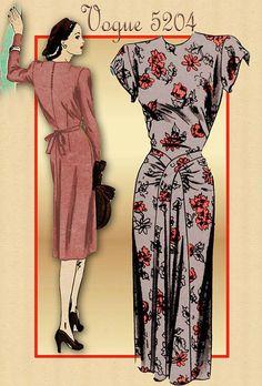Vintage 1940s Dress Pattern Vogue 5204 by FloradoraPresents, $40.00