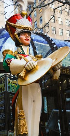 Giant toy soldier at Rockefeller Center, New York City at Christmas time.  10 Things To Do in NYC in December.