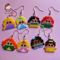 Orecchini mini Hama beads. Mini hama beads earrings inodore d by disney princess