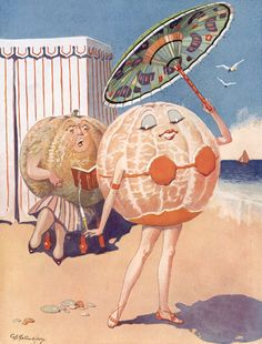 Anthropomorphic fruit! Vintage graphic, unknown artist (have not deciphered the signature yet)