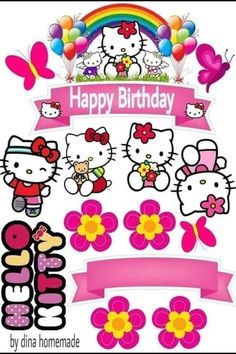 Hello Kitty Birthday Theme, Happy Birthday Clip Art, Happy Birthday Printable, Hello Kitty Themes, Hello Kitty Pictures, Barbie Birthday, Bolo Hello Kitty, Hello Kitty Drawing, Birthday Frames