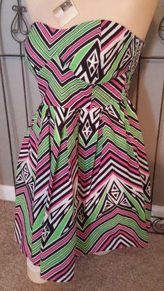 DEREK HEART Bandeau Sundress 100% Cotton Geometric Green Black Mulit Sz M #DerekHeart #BeachDress #SummerBeach