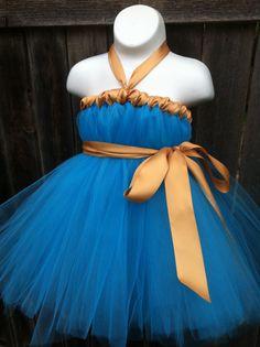 Merida Tutu Dress Costume- Brave Inspired Tutu Dress- with Golden Satin Sash-Size 6 months up to 3T