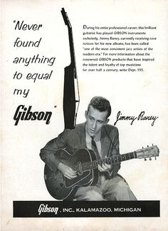 Print ad, Jimmy Raney for Gibson Inc., 1957