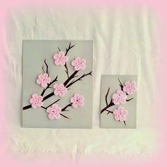 Cherry Blossom Art, Pink Cherry Blossom, Crochet Wall Art, Crochet Home Decor… Crochet Decoration, Crochet Home Decor, Crochet Crafts, Yarn Crafts, Felt Crafts, Crochet Projects, Paper Crafts, Diy Crafts, Crochet Wall Art
