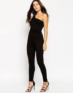 ASOS One Shoulder Drape Jersey Jumpsuit with Ruched Waist