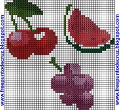 Dibujos Punto de Cruz Gratis: Frutas - Patrones punto de cruz