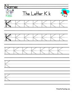 UsingLetter K Handwriting Practice Worksheet, students trace and then write the letter K in order build their Zaner-Bloser style print handwriting skills. Cursive Writing Practice Sheets, Handwriting Practice Worksheets, Print Handwriting, Teaching Handwriting, Cursive Writing Worksheets, Teaching Letters, Writing Words, Writing Skills, Digraphs Worksheets