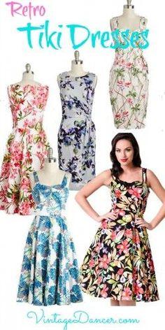 Shop retro vintage Tiki dresses for that 1940s and 1950s summer party. VintageDancer.com