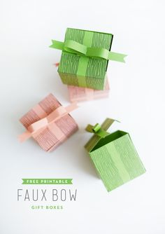Printable Faux Bow Gift Boxes   Oh Happy Day!