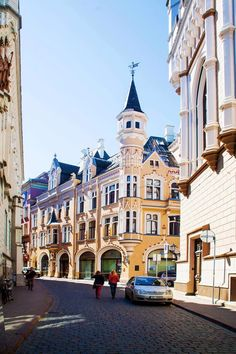 Very beautiful and sunny streets of Old Riga.