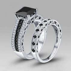 Pricness Cut Created Black Diamond Rhodium Plated 925 Sterling Silver Women's Wedding Ring Set/Bridal Set