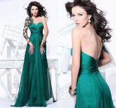 Sexy One Shoulder Sweetheart Long Sleeve Green Chiffon Prom Evening Party Dress