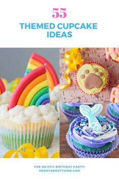 Fifty-five themed cupcakes to make your next party spectacular. All are doable for most bakers and complete with recipes and instructions. Candy Land Cupcakes, Frozen Cupcakes, Mermaid Cupcakes, Ice Cream Cupcakes, Themed Cupcakes, Yummy Cupcakes, Birthday Cupcakes, Cupcake Cakes, Birthday Parties