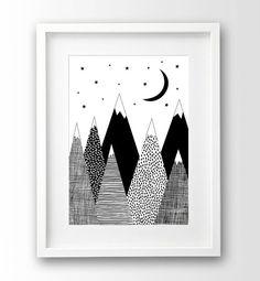 Berg Print Kids Room Decor zwart-witte kunst Scandinavische