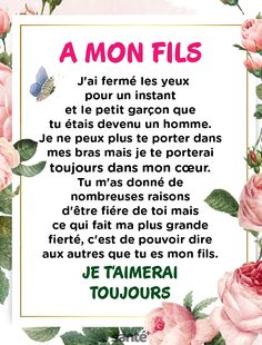 Mon fils ma Vie ♥️♥️♥️ - Bestworld Tutorial and Ideas Spring Tutorial, French Quotes, Positive Affirmations, Best Quotes, Life Quotes, Quotations, Encouragement, Inspirational Quotes, Positivity