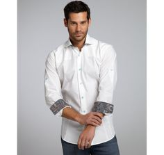 Bogosse white cotton contrast printed 'Aramis' dress shirt