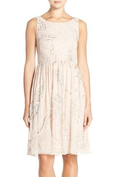 Adrianna Papell Embellished Chiffon Fit & Flare Dress