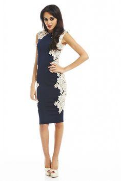 AX Paris Women's Crochet Lace Side Navy Midi Dress,Blue,4 US (8 UK): Clothing