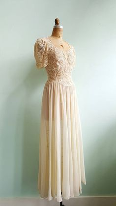 Vintage 1940s Lace and Chiffon Wedding Dress by TroveVintageShop