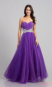 Buy Long Strapless Sweetheart Ball Gown at PromGirl