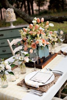 #peach roses as #centerpiece...this #tablescape is really pretty!