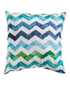 Blue & Green Chevron Wave Pillow | zulily
