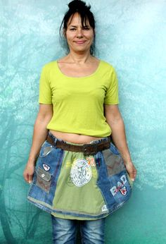 aabbf8af929  81.00 L-XL Crazy denim and tshirt recycled skirt hips by jamfashion Hippie  Boho