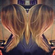 Gorgeous, warm balayage (a hand painted method of highlighting)  - By Christina at #DavidJWitchell #DJW
