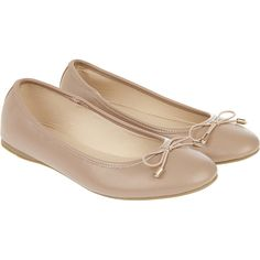 Accessorize Coralie Basic PU Ballerina Flats ($37) ❤ liked on Polyvore featuring shoes, flats, round toe shoes, flat ballet pumps, bow shoes, ballet flats and bow flats