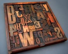 Skinner And Hyde: Vintage Wooden Letterpress Tray & Print Blocks - my dream is to own one of these one day x Framed Wooden Letters, Printers Drawer, Print Box, Ceramic Figures, Vintage Lettering, Assemblages, Block Lettering, Letterpress Printing, Crafty Craft