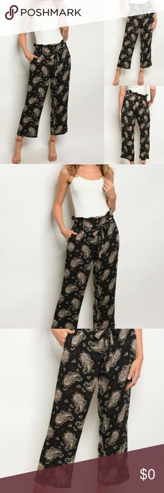 "PAISLEY PRINT PANTS 😘🌸NEW ARRIVAL BLACK PAISLEY PRINT PANTS Fitted belted waist printed loose trousers. Fabric Content: 100% RAYON Model Description: L: 35"" W: 26"" I.S.: 24"" Pants Trousers"