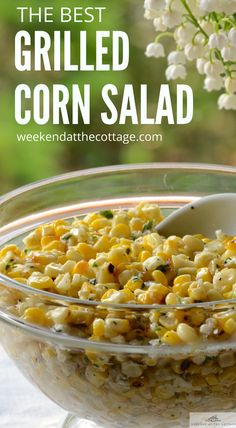 Looking for a new way of serving barbecued corn? This CHEESY CORN SIDE DISH goes perfectly with any grilled main, especially chicken or steak. The flavours are especially refreshing because it blends the sweetness of barbecued corn, the tang of fresh lime juice and the richness of both butter and Feta cheese. Delicious!! #cornsidedish #cornsalad #healthysidedishrecipe #sidedishrecipe #barbequedcorn #grilling #bbq