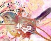 Blue Jay Bird - Spring Fine-Art Print - Asian Inspired. $28.00, via Etsy.