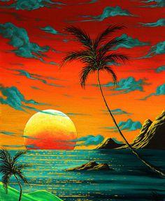 Tropical Coastal Surreal Beach Art TROPICAL BURN Painting at ArtistRising.com