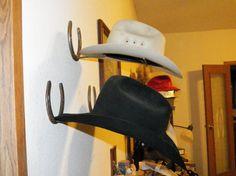 Horseshoe Cowboy Hat Rack by desertflatsfarm on Etsy