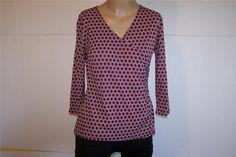 COVINGTON Shirt Top Large P Surplice V-Neck Nylon Stretch Purple White Womens #Covington #KnitTop #Casual