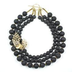 Statement Kette, Statement Necklace, Handmade, Lava beads, Trifari Vintage Brooch, gold-plated Sterling Silver - Deep Dark Secret - Bertha Louise