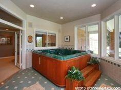 french doors instead of sliders. Indoor hot tub